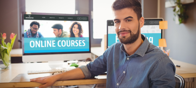Man taking online course on computer