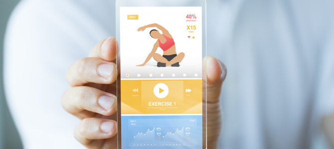 Smart phone displaying an exercise tutorial