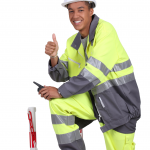 happy road worker
